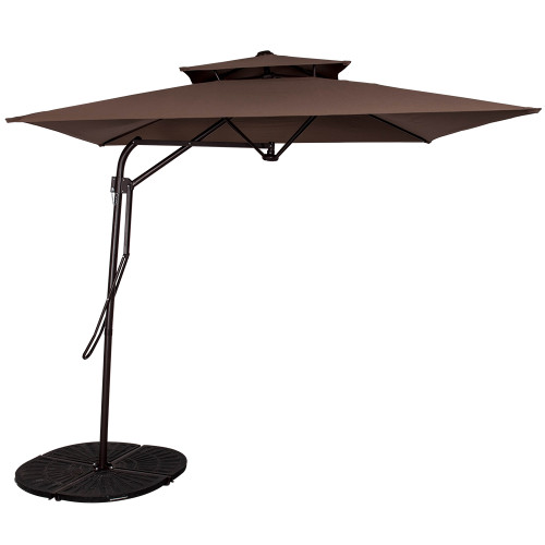 8.2Ft Rectangular Patio Offset Umbrella with Strong Sturdy Double Canopy Construction and Hand Push, 4 Steel Ribs (Coffee)