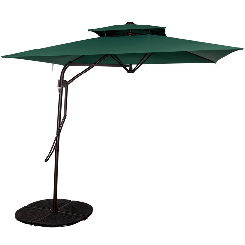 8.2Ft Rectangular Patio Offset Umbrella with Strong Sturdy Double Canopy Construction and Hand Push, 4 Steel Ribs (Dark Green)