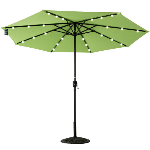 Solar Powered 24 LED Lighted Outdoor Patio Umbrella with Crank,10Feet, Recharge for Phone (Green)