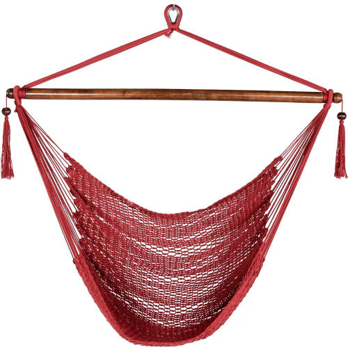 47 Inch Poly Rope Hanging Hammock Swing Chair with Wood Spreader Bar Outdoor Patio (Red)