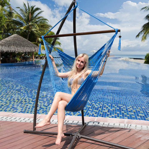 47 Inch Poly Rope Hanging Hammock Swing Chair with Wood Spreader Bar Outdoor Patio (Royal Blue)