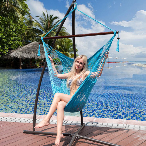 47 Inch Poly Rope Hanging Hammock Swing Chair with Wood Spreader Bar Outdoor Patio (Sky Blue)