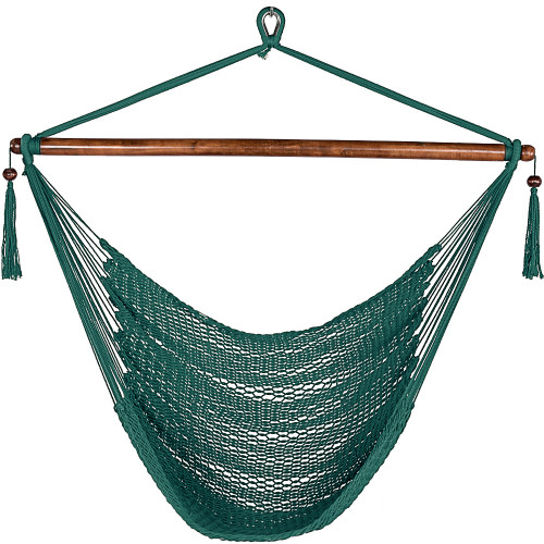 47 Inch Poly Rope Hanging Hammock Swing Chair with Wood Spreader Bar Outdoor Patio (Dark Green)