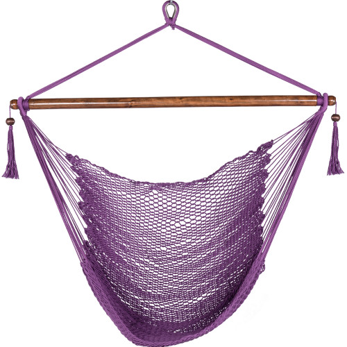 47 Inch Poly Rope Hanging Hammock Swing Chair with Wood Spreader Bar Outdoor Patio (Purple)