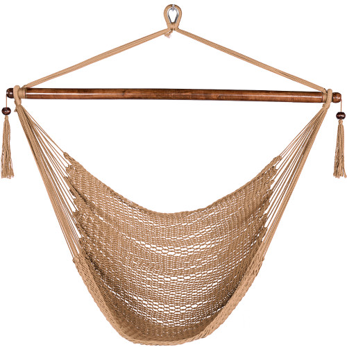 47 Inch Poly Rope Hanging Hammock Swing Chair with Wood Spreader Bar Outdoor Patio (Tan)