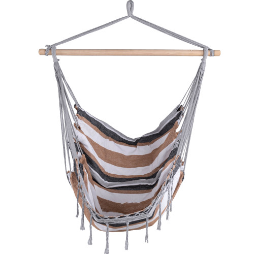 Sundale Outdoor Canvas Hanging Hammock Swing Chair Seat with Wood Spreader Bar and Fringe (Desert Stripe)