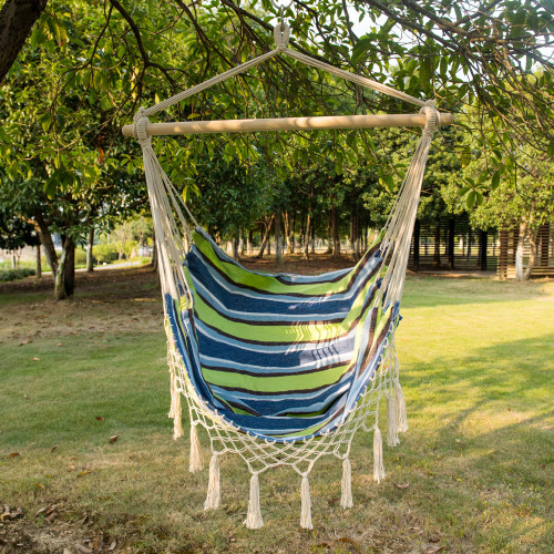 Sundale Outdoor Canvas Hanging Hammock Swing Chair Seat with Wood Spreader Bar and Fringe (Oasis Stripe)