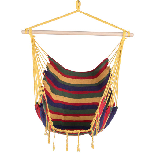 Canvas Hanging Hammock Swing Chair Seat with Wood Spreader Bar and Fringe (Tropical Stripe)