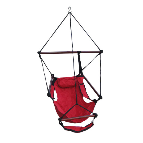 Sundale Outdoor Hanging Air Chair with Pillow, Footrest, Drink Holder (Red)