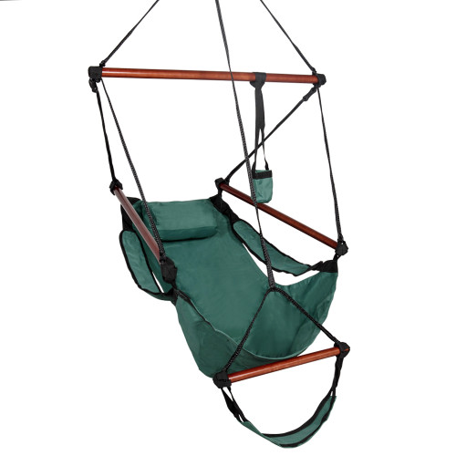Sundale Outdoor Hanging Air Chair with Pillow, Footrest, Drink Holder (Green)