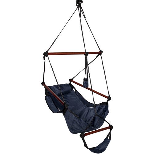 Sundale Outdoor Hanging Air Chair with Pillow, Footrest, Drink Holder (Navy Blue)