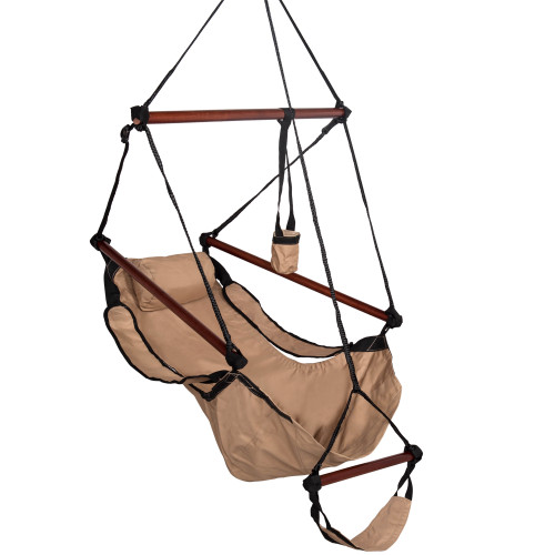 Sundale Outdoor Hanging Air Chair with Pillow, Footrest, Drink Holder (Tan)