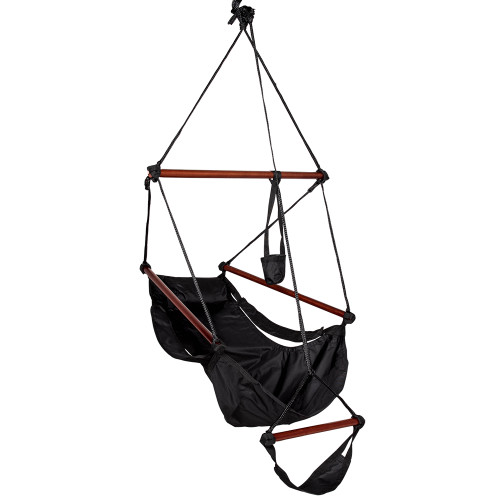 Sundale Outdoor Hanging Air Chair with Pillow, Footrest, Drink Holder (Black)