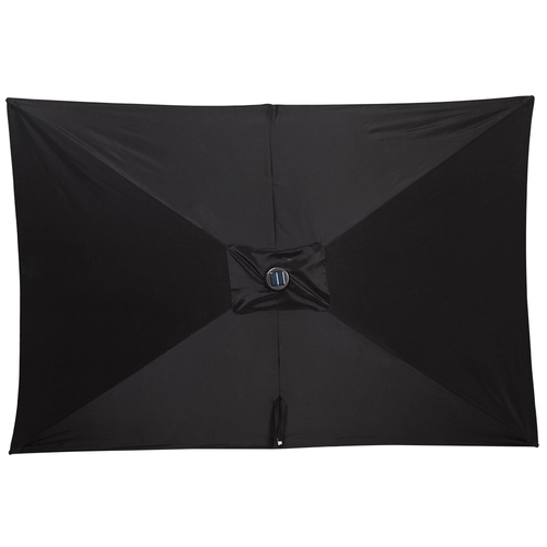 Rectangular Solar Powered 26 LED Lighted Outdoor Patio Umbrella With Crank  And Tilt, Aluminum, 10 By 6.5 Feet (Black)