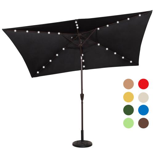 Rectangular Solar Powered 26 LED Lighted Outdoor Patio Umbrella with Crank and Tilt, Aluminum, 10 by 6.5-Feet (Black)