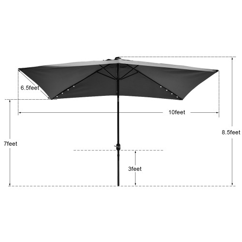 Rectangular Solar Powered 26 LED Lighted Outdoor Patio Umbrella With Crank  And Tilt, Aluminum, 10 By 6.5 Feet (Black)