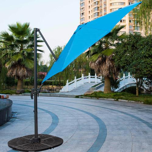10ft Hanging Roma Offset Umbrella Outdoor Patio Sun Shade Cantilever Crank  Canopy (Sunbrella Blue)