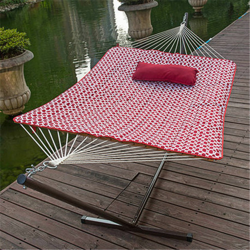 12 Feet Steel Hammock Stand with Cotton Rope Hammock Combo,Quilted Polyester Hammock Pad and Pillow, Cape Cod Red