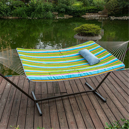 LazyDaze Hammocks 12 Feet Steel Hammock Stand with Cotton Rope Hammock Combo,Quilted Polyester Hammock Pad and Pillow