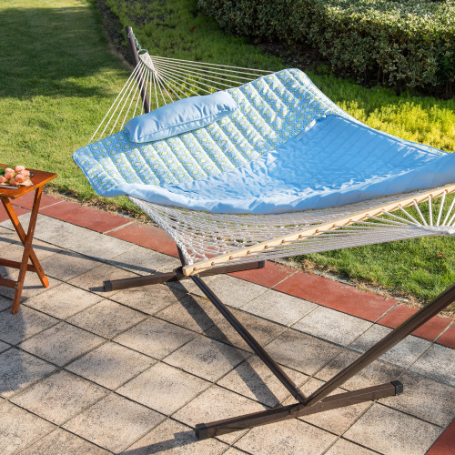 12 Feet Steel Hammock Stand with Cotton Rope Hammock Combo, Quilted Polyester Hammock Pad and Pillow, Zinger Peacock