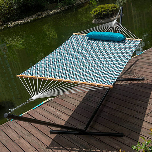 15 Feet Heavy Duty Steel Hammock Stand , Two Person Quilted Fabric Hammock And Pillow Combo,Blue&White Wave