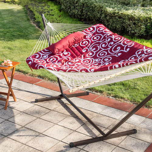 12 Feet Steel Hammock Stand with Cotton Rope Hammock Combo, Quilted Polyester Hammock Pad and Pillow,Red Citrus