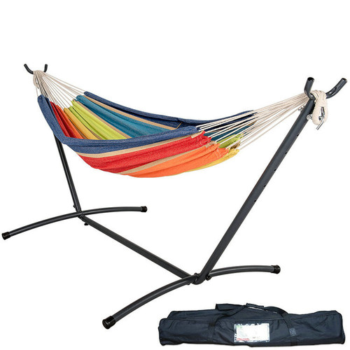 Double Hammock With Space Saving Steel Stand Includes Portable Carrying Case, 450 Pounds Capacity (Lime&Orange Stripe)