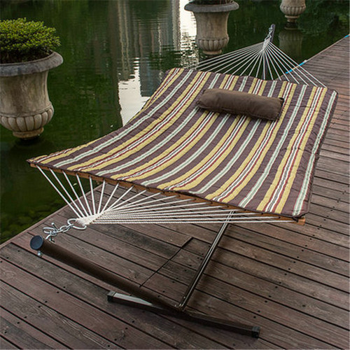 2 Feet Steel Hammock Stand with Cotton Rope Hammock Combo,Quilted Polyester Hammock Pad and Pillow,Classic Brown Stripe