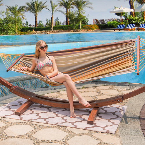 12Feet Wood Arc Hammock Stand and 100% Cotton Fabric Spreader Bar Hammock Combo