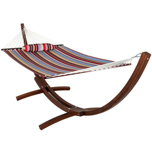 LazyDaze Hammocks 12 ft. Wood Arc Hammock Stand with 2 Person Double Layer Polyester Fabric Hammock and Pillow