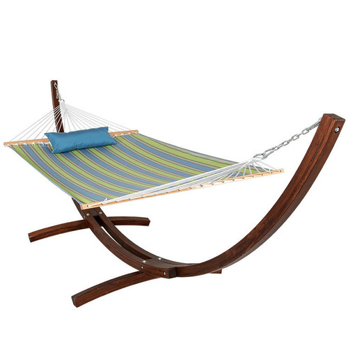 12 ft. Wood Arc Hammock Stand with 2 Person Double Layer Polyester Fabric Hammock and Pillow