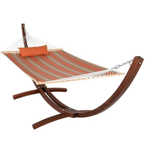 Sunbrella Fabric Hammock, pillow and 12 Feet Wood Arc Stand,Backyard Combo Set, Passage Poppy,by Lazydaze Hammocks