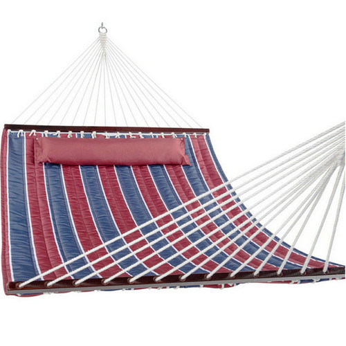 55inch Quilted Fabric Hammock With Pillow Double Size Spreader Bar Heavy Duty Stylish, Classic Red/Navy Stripe