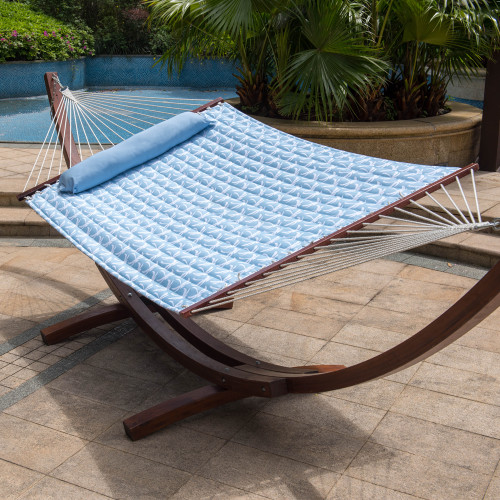 55inch Quilted Fabric Hammock With Pillow Double Size Spreader Bar Heavy Duty Stylish ,Palm Bay Light Blue