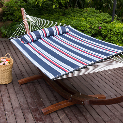 Quilted Fabric Hammock With Pillow Double Size Spreader Bar Heavy Duty Stylish,Nautical Stripe