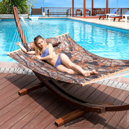 """55"""" Double Quilted Fabric Hammock Swing with Pillow (Camouflage"""