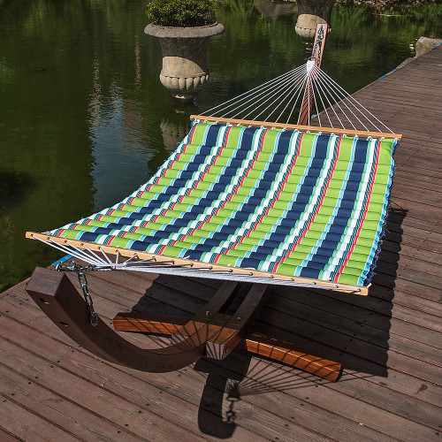 Double Pillow Top Hammock (Green/Blue Stripe)