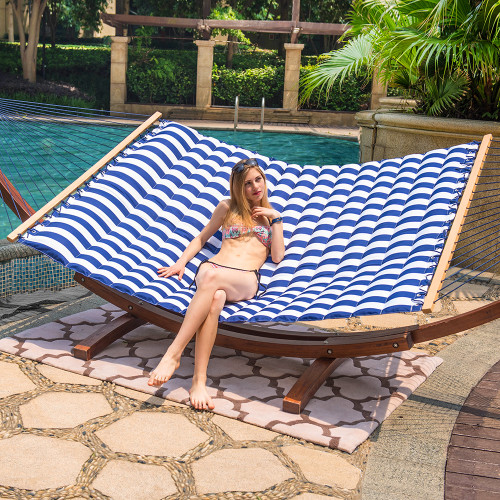 Double Pillow Top Hammock (White/Blue Stripe)