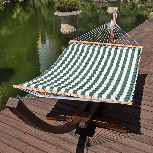 Double Pillow Top Hammock (White/Green Stripe)