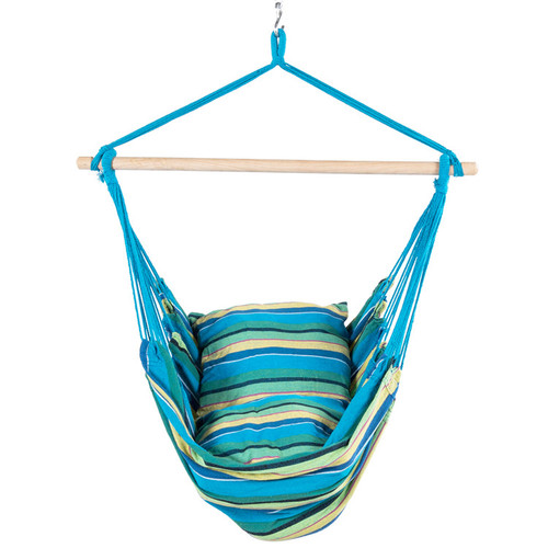 Canvas Hanging Hammock Swing Chair with Cushions, Blue and Green