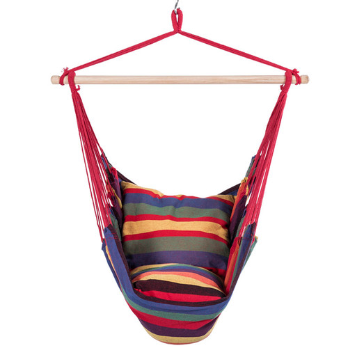 Canvas Hanging Hammock Swing Chair Seat with Wood Spreader Bar and 2 Cushions (Tropical Stripe)