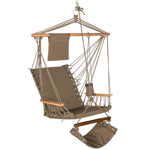 Hanging Hammock Swing Lounger Chair with Cup Holder,Footrest&Hardware, Capacity 350 lbs (Tan)