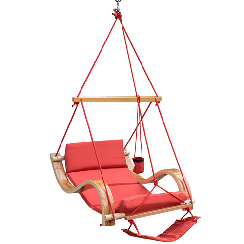 Deluxe Hanging Hammock Lounger Chair with Cup Holder,Footrest&Hardware, Capacity 350 lbs (Red)