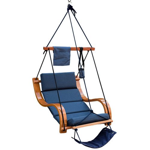 Deluxe Hanging Hammock Lounger Chair with Cup Holder,Footrest&Hardware, Capacity 350 lbs (Navy Blue)