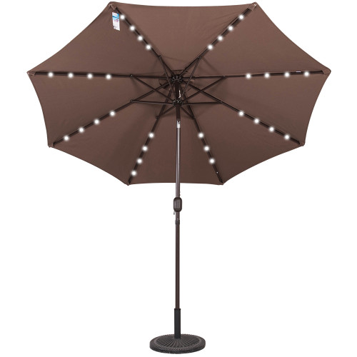 Solar Powered 32 LED Lighted Outdoor Patio Umbrella with Crank and Tilt, 9 Feet, Coffee