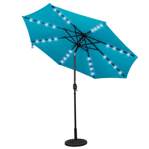 Solar Powered 32 LED Lighted Outdoor Patio Umbrella with Crank and Tilt, 9 Feet, Sky Blue