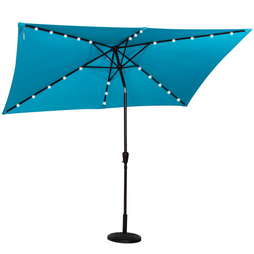 Rectangular Solar Powered 26 LED Lighted Outdoor Patio Umbrella with Crank and Tilt, Aluminum, 10 by 6.5-Feet (Blue)