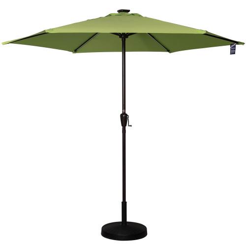 Deluxe Solar Powered LED Stripe Lighted Outdoor Patio Market Umbrella, With Crank, 9Feet