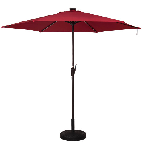 Deluxe Solar Powered LED Stripe Lighted Outdoor Patio Market Umbrella with Crank, 9Feet(Red)