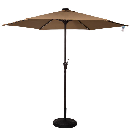 Deluxe Solar Powered LED Stripe Lighted Outdoor Patio Market Umbrella with Crank, 9Feet(Tan)